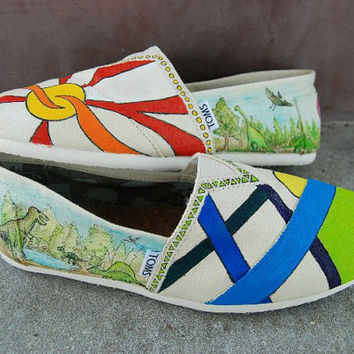 Dinosaur Custom TOMS shoes by KellismCo on Etsy