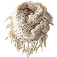 Scarf for Kid,Infinity Scarf for Baby,Neck Warmer for Toddler,UZZO&Trade; Unisex Baby Girl Boy Toddler Kids Winter Warm Crochet Knit Long Tassels Soft Wrap Shawl Scarves Infinity Scarf (Beige)
