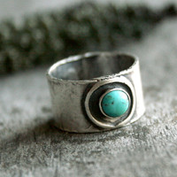 Turquoise Wide Band Ring - Rustic Sterling Silver and Turquoise Artisan Wide Band Ring - Desert Oasis