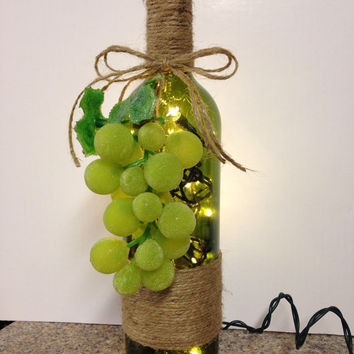 Grapes wine bottle lamp, repurposed wine bottle, night light