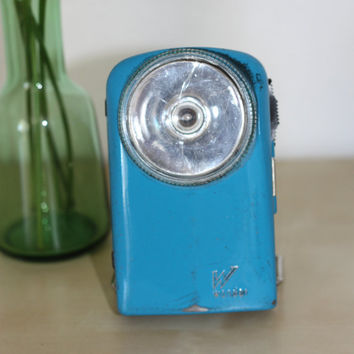 Lovely French blue vintage flashlight made by Wonder