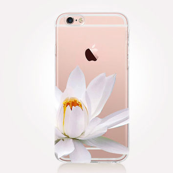 Transparent White Lotus Case - Transparent Case - Clear Case - Transparent iPhone 6 - Transparent iPhone 5 - Transparent iPhone 4