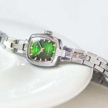 Tiny women's watch green face, silver shade lady's watch bracelet, cocktail watch bracelet, wristwatch rectangular vintage, party watch lady