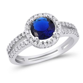 Choose Color Womens Halo Promise Ring Rhodium Plated Sterling Silver Halo Promise Ring CZ