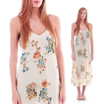 90s Vintage Silk Oscar de la Renta Slip Dress Long Floral Nightgown Loungewear Sleeveless Retro Boho Chic Resort Womens Size Large
