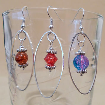 Colored Glass Bead & Silver Oval Hoop Dangle Earrings, Handmade, Long Earrings, Original Design, Unique Style, Fashion Jewelry, Bright Color