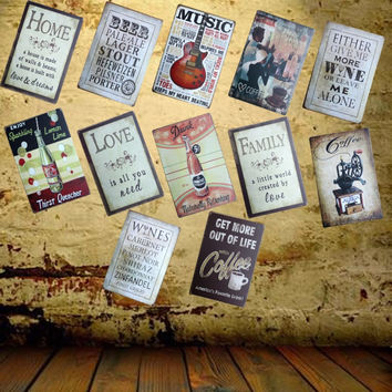 Guitar Music Tin Sign Metal Painting Antique Room Party Bar