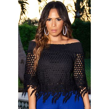 Amelia Boutique Black Crochet Lace Blouse