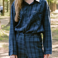 SEEKLettering Embroidered Check Shirt | mixxmix
