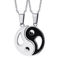2P BFF Charm Pendant Necklaces Eight Diagrams Yin Yang Black and White Best Friends friendship Couples Lover Valentine Gift New