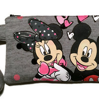 Minnie and Mickey Mouse Bag Upcycled Clutch