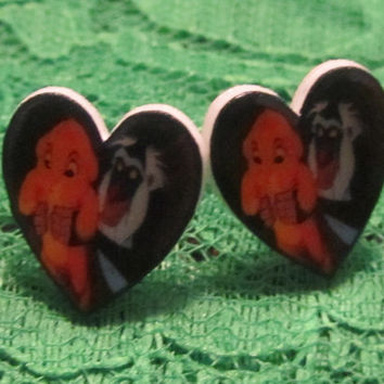 Lion King Inspired Baby Simba and Rafiki Heart Stud Earrings Unique New Love Animals