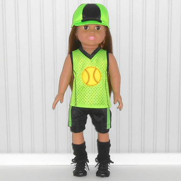 American Girl Doll Clothes Bright Green and Black Softball Uniform with Hat and Knee Pads and Optional Cleats