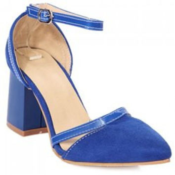 Fashion Chunky Heel and Suede Design Pumps For Women