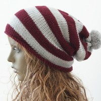 Knitted Pompom Slouchy Beanie Hat Burgundy and Light Grey