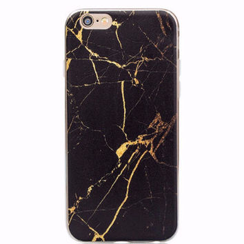 Black and Gold Marble Soft Case for iPhone 6 6s Plus 5 5S 5C 4 4S