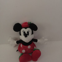 "disney parks 7"" christmas holiday retro minnie mouse plush toy doll new with tags"
