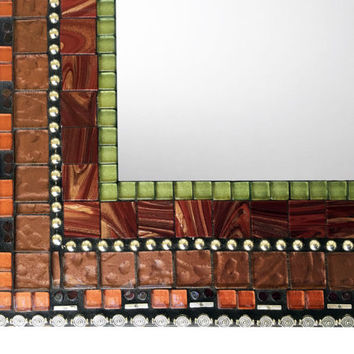 Mosaic Wall Mirror, Earth Tones, Unique Wall Mirror, Custom Mirror, Bronze Green Orange Maroon Mirror