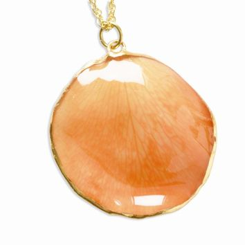Lacquer Dipped 24k Gold Trim Orange Rose Petal w/ Gld-pltd Chain