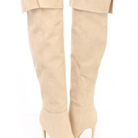 Nude Cuffed Knee High Heel Boots Faux Suede