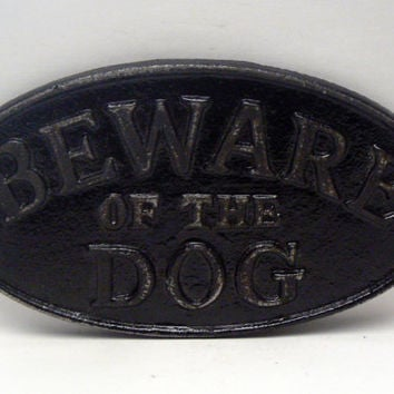 Beware of the Dog Oval Cast Iron Sign Painted Glam Black Wall Decor Plaque, Shabby Chic Distressed