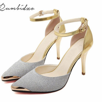 Rumbidzo Fashion Cap Toe Women Pumps Sexy Glitter High Heel Shoes Woman Wedding Party Shoes Gold Silver Blue