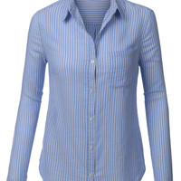 LE3NO Womens Lightweight Button Down Striped Shirt (CLEARANCE)