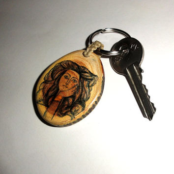 Pablo Picasso keychain , keyring. Key chains key rings. Handcrafted key ring. Ornament key chain.