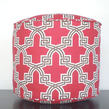 "Trellis pouf ottoman in dark red, brown and white, round floor cushion in 18"" , red foot rest for women"