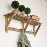 Recycled Wood Shelf with Four Coat Hooks