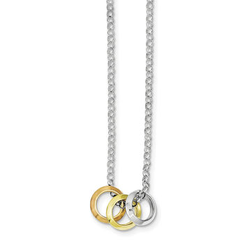 Sterling Silver Rhodium Plated, Yellow GP & Rose GP, 3 Circle Necklace QH4972