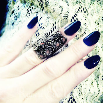 Knuckle Ring Midi Ring Gothic Filigree Black Metallic Finish
