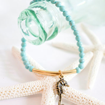 Turquoise and Seahorse Bracelet