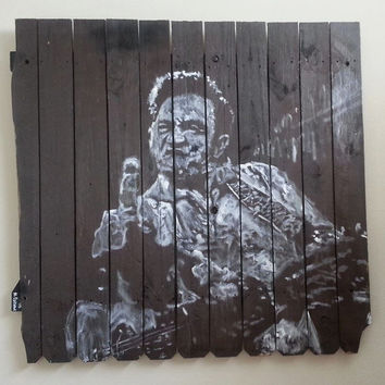 CUSTOM Reclaimed Wood Art Johnny Cash Art Large Wall Art Large Wood Art  Wood Wall Art