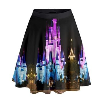 Nighttime Cinderella Castle Inspired High Waisted Skirt