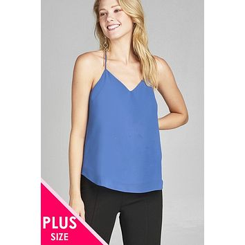 Ladies fashion plus size v-neck w/open back double strap detail woven cami top