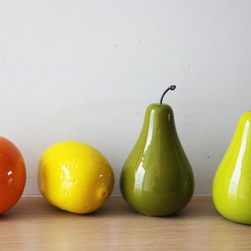 Ceramic fruit sculptures, life size ceramic fruit of earthenware clay , orange lemon and two pears, set of four ceramic fruit, fruit decor