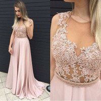 O-Neck Sleeveless Beading Prom Dresses