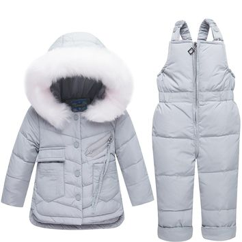 Fur Hooded Down Jacket and Overalls Snow Jumpsuit