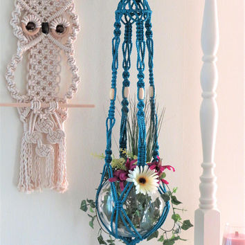 Large Modern Macrame Plant Hanger, colorful macrame plant holder, Vintage Hippie Birdcage, Blue beaded boho pot hanger, 70s Ceiling Planter