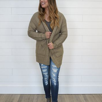 Height of Happiness Cardigan - Khaki