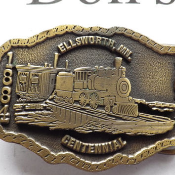 Brass Ellsworth MN Centennial 1884-1984 Belt Buckle Vintage