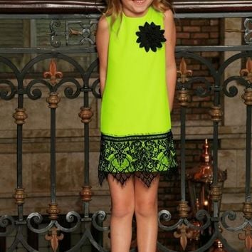 Neon Yellow Stretchy Summer Shift Dress With Black