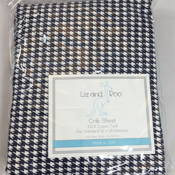 Navy Houndstooth Crib Sheet - ONE ONLY