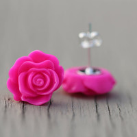 Stud Earrings : Bright Neon Pink Rose Flower Stud Earrings, Sterling Silver Plated Earring Posts, Electric, Simple, Fun
