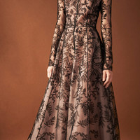 Floral Embroidered Long Sleeve Gown | Moda Operandi