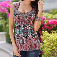 Sleeveless V-neck Sexy Top Printing Summer T Shirt Fashion Elegant Women Blouse [8833384524]