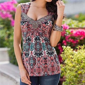 Sleeveless V-neck Sexy Top Printing Summer T Shirt Fashion Elegant Women Blouse [9324252740]