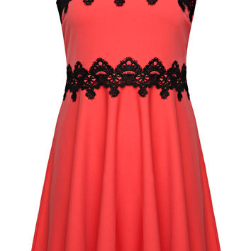 Coral Strappy Skater Dress With Black Lace Trim plus size 14,16,18,20,22,24,26,28,30,32