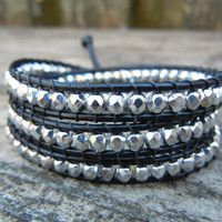 Beaded Leather Wrap Bracelet 3 Wrap with Silver Czech Glass Beads on Black Leather 3 Wrap